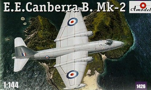 E.E. Canberra B.Mk.2, with decals for RAF, WH725, and Luftwafe, D-9566. A Model, 1/144, injection, No.1426. 10,98 GBP.