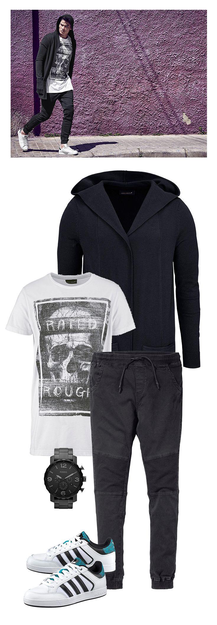 Das lässig-bequeme Outfit für die Herbstsaison: In der Longstrick-Jacke können es sich auch harte Jungs richtig gemütlich machen, passend dazu bietet die John Devin Strech-Hose viel Beinfreiheit. Dazu einfach ein weißes Shirt und weiße Adidas-Sneaker kombinieren – fertig.