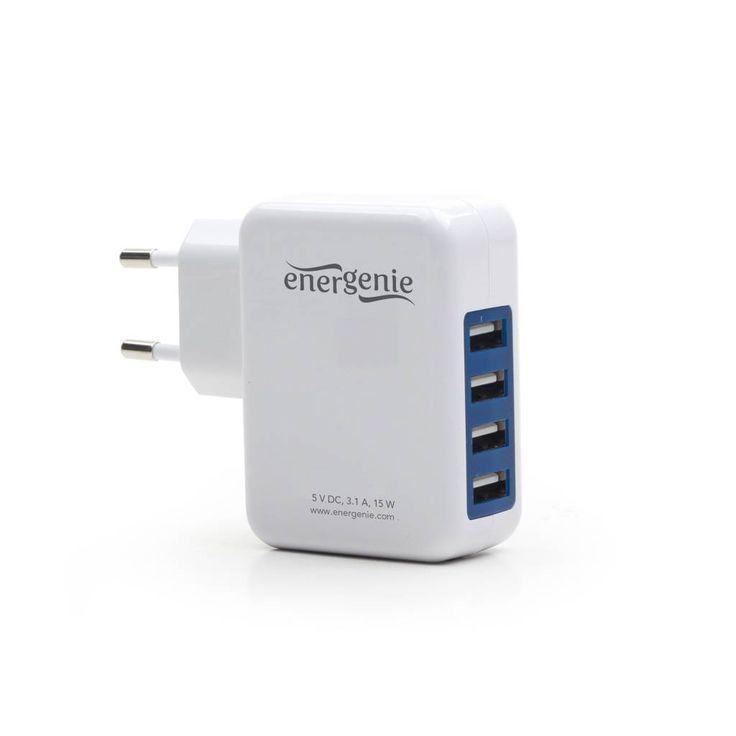 Energenie USB lader om tegelijkertijd 4 apparaten op te laden.