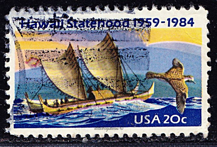 USA.  25th Anniv. of Hawaii Statehood.  Eastern Polynesian Canoe, Golden Plover, Mauna Loa Volcano.  Issued 1984  Mar. 12,  Photo., Scott  2080 A1465,  20c. /ldb.