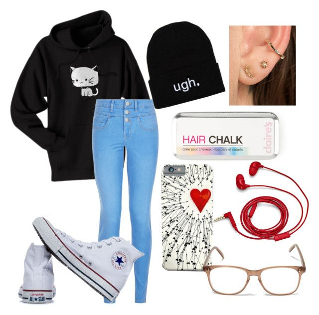 """Glasses"" by goblincat5150 ❤ liked on Polyvore featuring New Look, Converse, FOSSIL and Cutler and Gross"