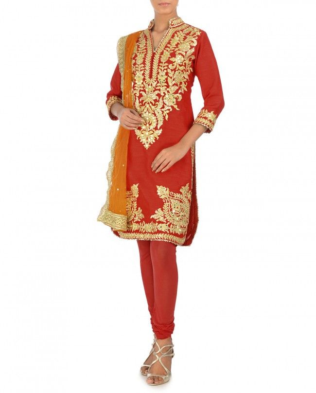 Gota Embellished Scarlet Suit with Orange Dupatta by Preeti S Kapoor - Indian Ethnic Fashion - Celebrity Style - Indian Designer wear - Traditional Wear of India - Gota Embroidery - #Royal #Goregous #Festive - Ocassion Wear - Golden - Bling - Ethnic Style from Indian Fashion Designer - Indian Ethnic Trends - Festive Color - Latest Fashion Trends - Wedding Wear