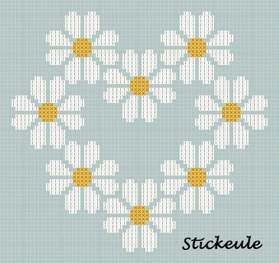 Daisies heart X-stitch pattern