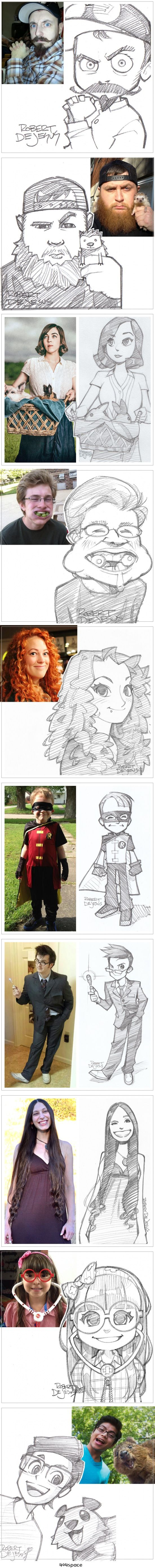 Creative Artist Robert DeJesus Turns Strangers' Photographs Into Anime-Inspired Sketches