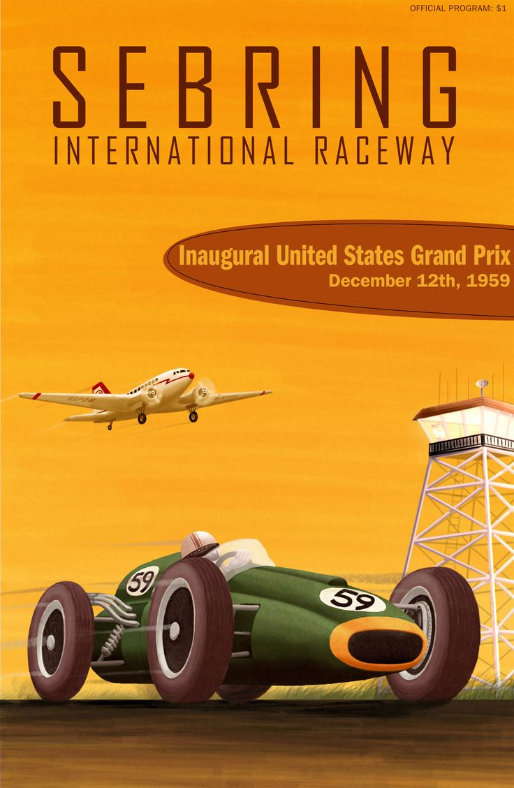 Inaugural US Grand Prix at Sebring international Raceway program cover by John Bradley