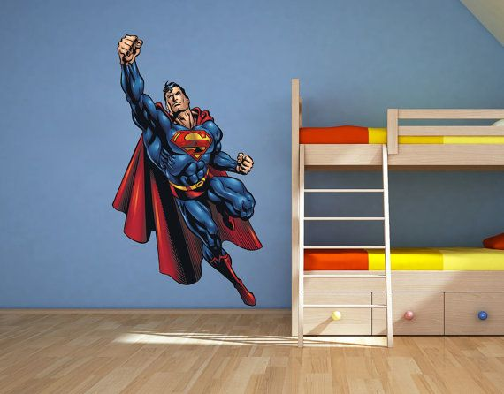 full colour superman wall sticker nursery kids bedroom decal mural graphic boys superhero via etsy