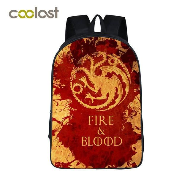 Game of Throne Children School Bags Girls Boys Book Bag bolso mochila mujer Fire and Blood Women Backpack Laptop Targaryen Bag