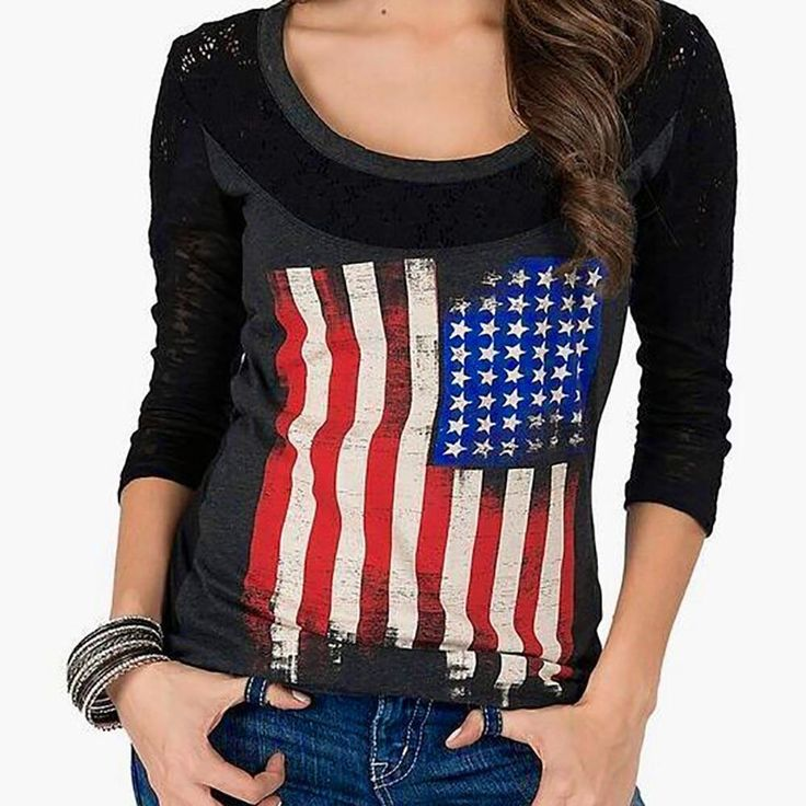 Buy American Flag Long Sleeve Top S - XL at My Southern Boutique for only $28.95