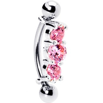Silver 925 Rose Austrian Crystal Trilogy Eyebrow Ring  #BodyCandy