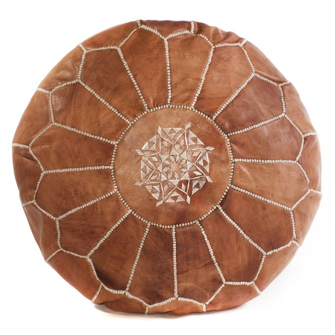 Tan Brown Moroccan Pouf Leather #cushandco