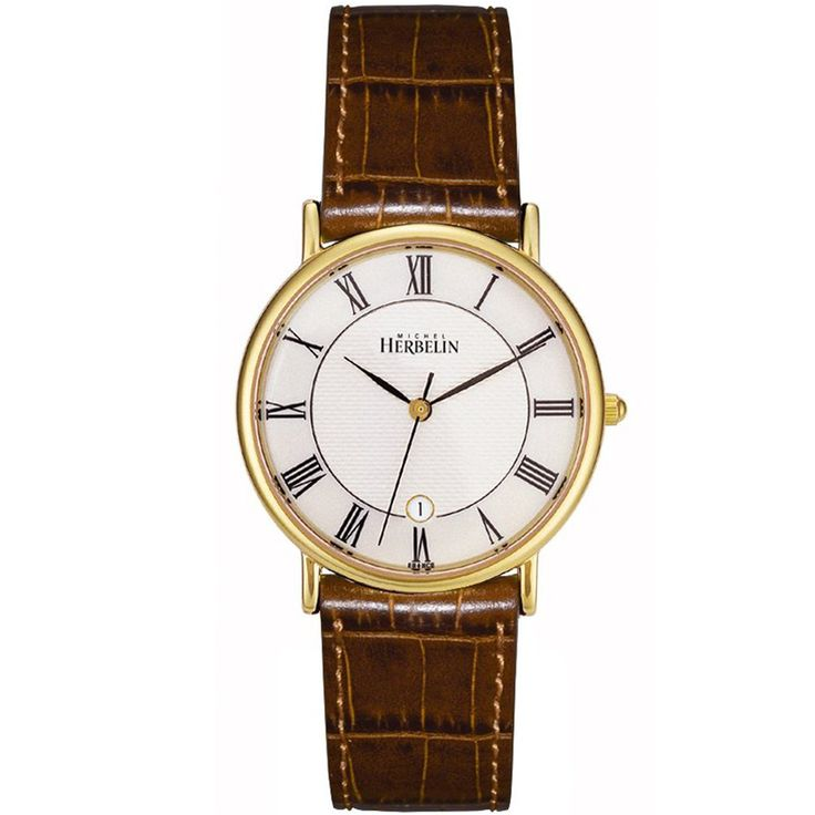 WatchO - Michel Herbelin Men's Sonates Gold Plated Brown Leather Strap Watch 12443/P08GO, £289.00 (https://www.watcho.co.uk/watches/michel-herbelin/michel-herbelin-mens-watches/michel-herbelin-mens-sonates-gold-plated-brown-leather-strap-watch-12443-p08go/)