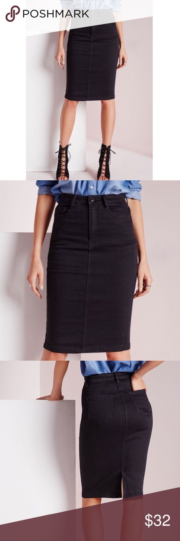 Denim Pencil Skirt Zara basic midi denim skirt. This skirt is in an always on trend chocolate wash. This piece is perfect to add to your wardrobe and will go with just about anything. Team up with a standout bodysuit and a killer pair of barely there heels for a casual cool finish. Very dark brown High waisted jean skirt Size  X Small never been worn. Zara Skirts Midi