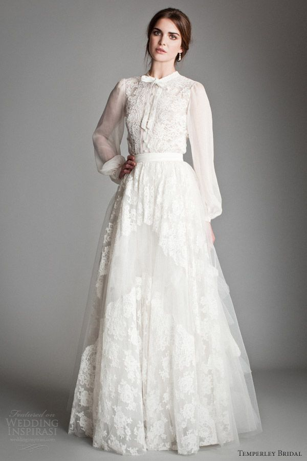 Heather blouse in corded French lace appliquéd on silk chiffon + Petunia tiered tulle skirt with corded French appliqué. Temperley Bridal 2013