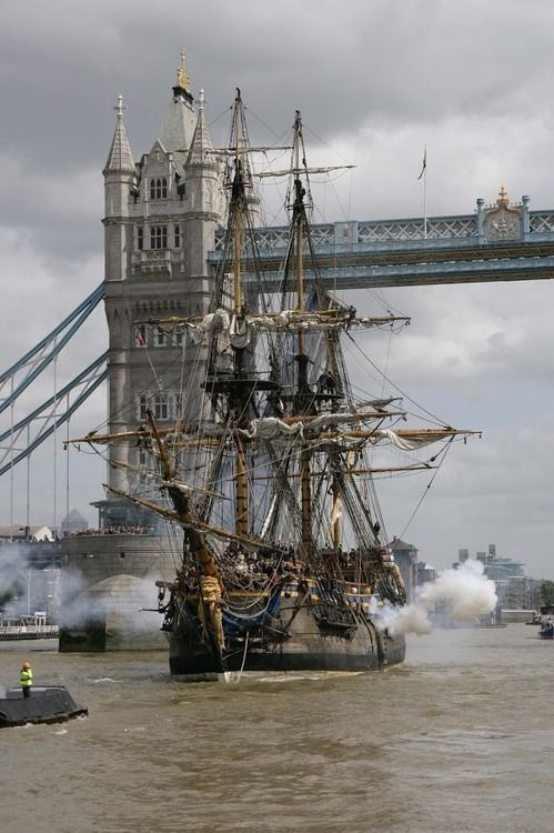 The ship, modelled on the original 18th Century Swedish ship the Gothenburg, fired her cannon to salute London at Tower Bridge. May 2007