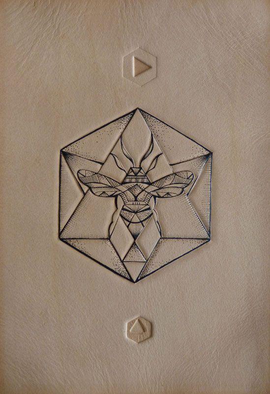 Geometric Hexagon Bee (Mini Motif) Tattooed leather art.Punctured Artefact