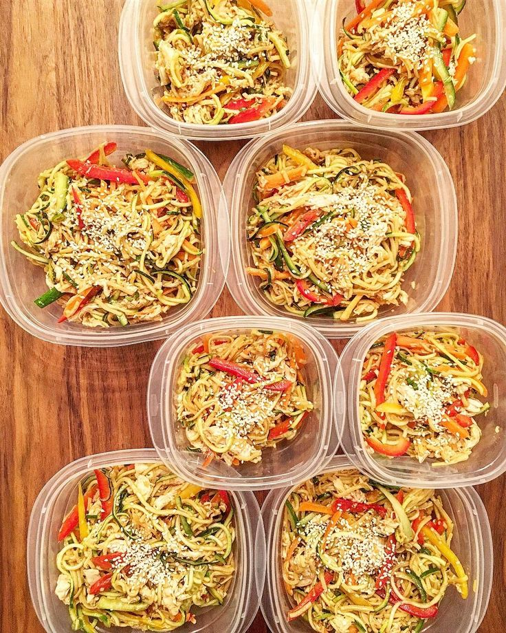 Shredded Chicken Zucchini & Rice Noodle Salads with lots of veggies (peppers carrots cucumber & Zucchini) and a delicious tamari ginger sweet chili sauce. 4 lunches for me and 4 for my husband for Mon to Thurs.