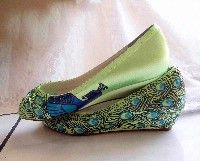 Peacock jeweled flats by NoraKaren on etsy.com dyed shoes.