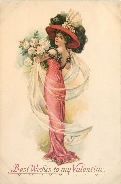 BEST WISHES TO MY VALENTINE elegant lady in red dress faces right, looking back over her shoulder carrying many roses