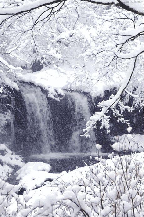 A snowy waterfall