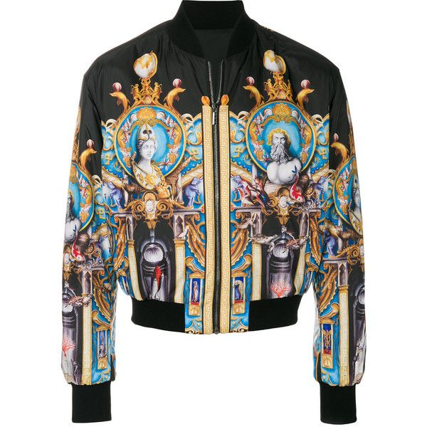 Versace Triptych bomber jacket ($2,325) ❤ liked on Polyvore featuring men's fashion, men's clothing, men's outerwear, men's jackets, black, mens short jacket, versace mens jacket, mens jackets and mens flight jacket