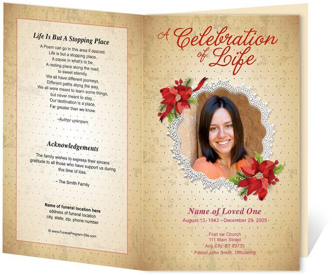 214 best Creative Memorials with Funeral Program Templates images - memorial program