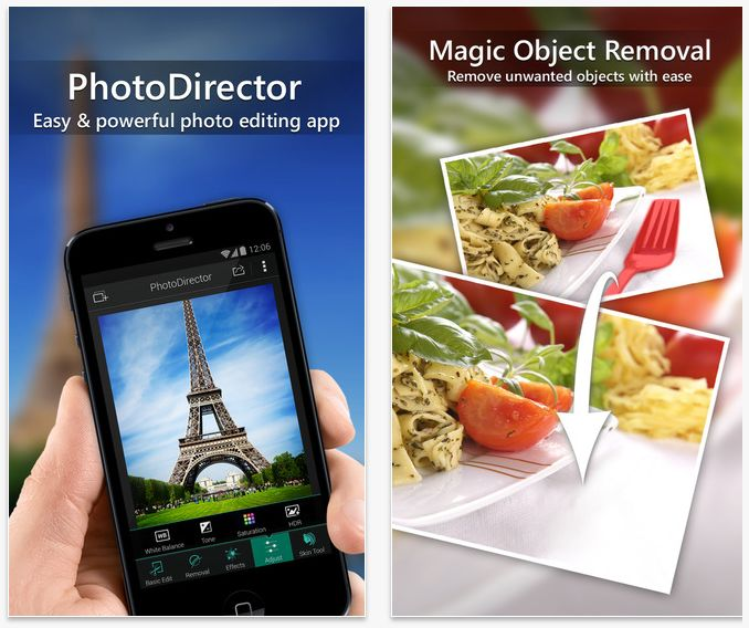PhotoDirector is an impressive photo editing app that's perfect for anyone who takes a lot of selfies or pictures of pets, friends and family. It comes with the basic features, such as: cropping, rotating, saturation and tone adjustments, overlays, filters, etc. But it also comes with some special features that are essentials for editing photos.