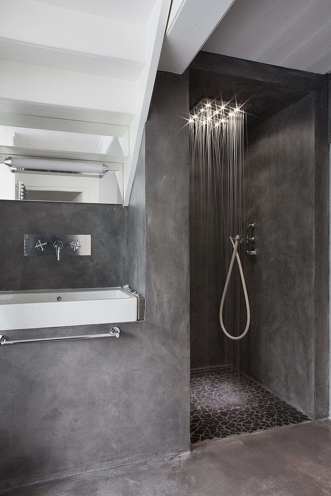 Like the open shower design and the waterfall shower head with the lights, but also wanting two shower heads