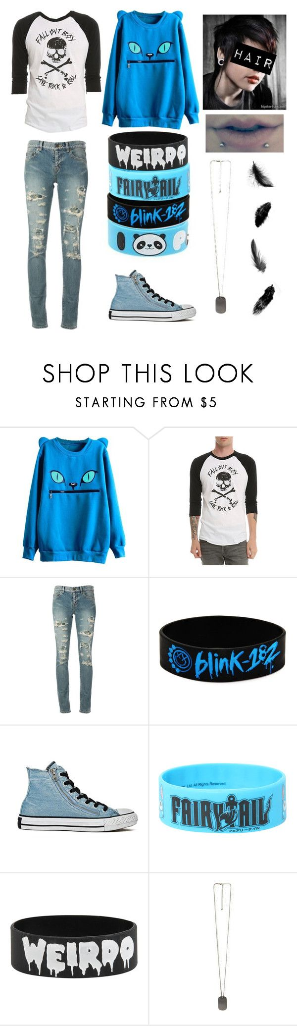 """Tomboy<3"" by koyukifullbuster ❤ liked on Polyvore featuring Hot Topic, Yves Saint Laurent, Blink, Converse and 21 Men"