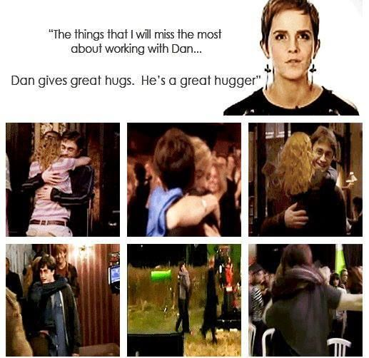 """The things that I will miss the most about working with Dan... DAN gives great hugs. He's a great hugger"" - Emma Watson"