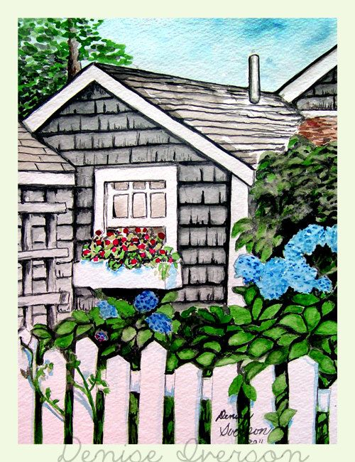Gray house white fence and flowers painting original watercolor