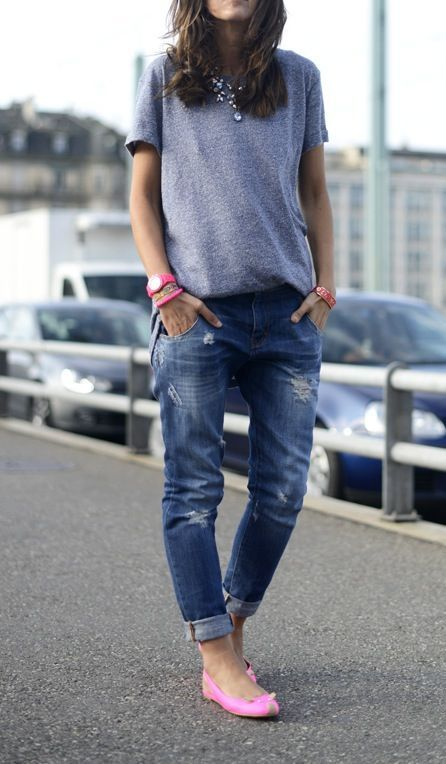 casual look - boyfriend jeans & pink flats & accessories