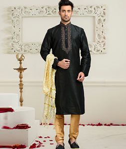 Buy Black Dupion Readymade Kurta With Churidar 73775 online at lowest price from our mens wear collection at Indianclothstore.com.