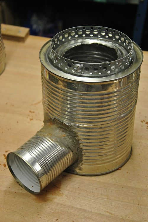 Rocket stove from tin cans for a small make shift stove for Tin can solar heater