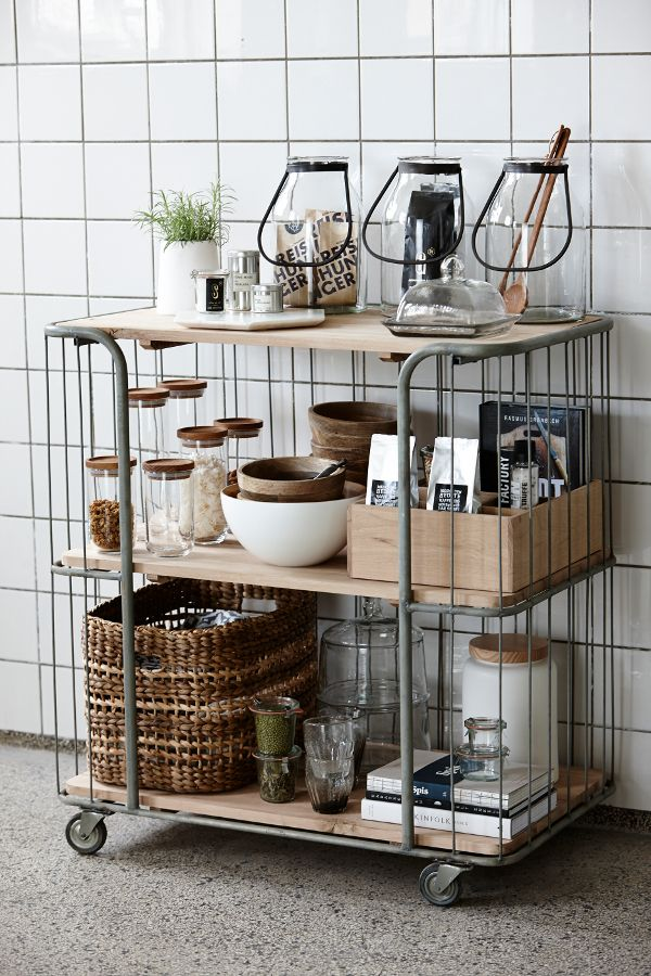 Rustic storage side cart