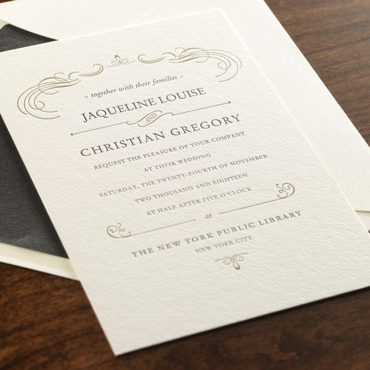 letterpress wedding invites london%0A Romance by Checkerboard  letterpress wedding invitation in black and gold  ink   Paper  u     Pearl