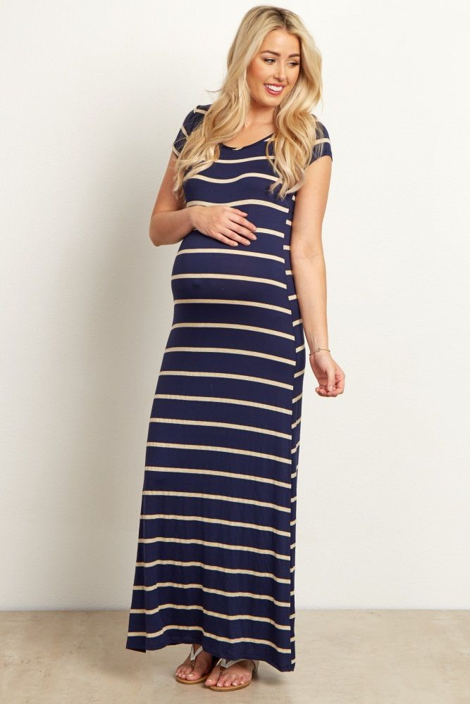 Navy-Blue-Beige-Striped-Maternity-Maxi-Dress