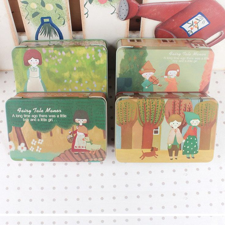 """""""Fairy Tale Manor"""" Tin Box. Ideal for party gift box, baptism favor box, pencil case, keeping secrets or jewelry inside and more....  You can find them on http://www.tatataworld.com/product/fairy-tale-manor-tin-box"""