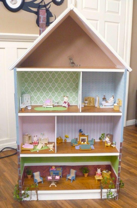 Dollhouse Bookcase: Beach Cottage, Brick Row House  Cute Ikea Hack
