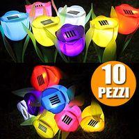 10 Lampade Giardino ricarica solare Paletti solari Fiore Tulipano LED Colorati