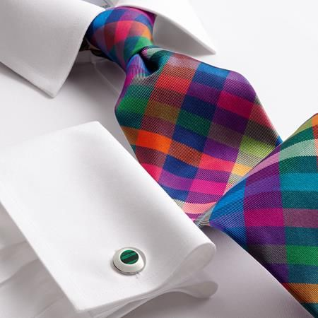Luxury bright multi check tie