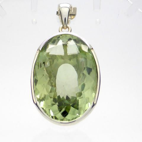 Prasiolite Pendant | 925 Sterling Silver | AKA Green Amethyst | Natural Unheated | Massive Oval Faceted Jewel | Crystal Heart Melbourne Australia since 1986
