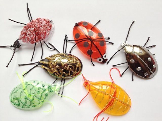 plastic spoons = bugs/beetles