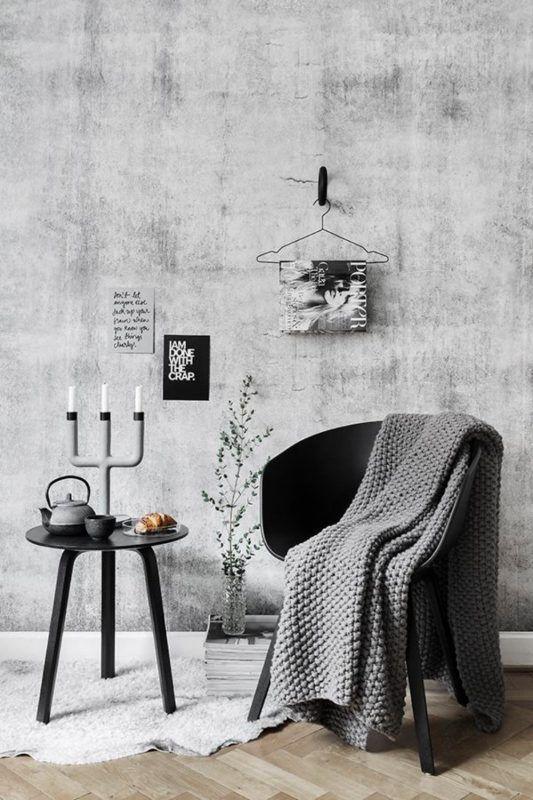 Бетон прекрасно вписывается в дизайне интерьера, где основная идея - минимализм. Вместе с этим его можно дополнить аксессуарами с множеством декоративных отделок из металла и дерева! Но основной секрет не в этом. Холодный индустриальный бетон нужно обязательно смягчать мягкими элементами.