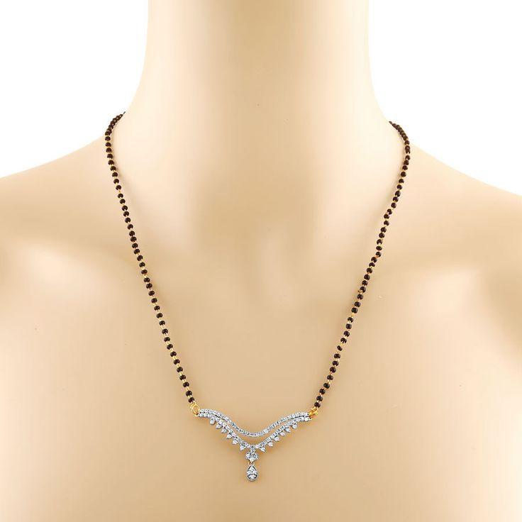 Traditional double row diamond mangalsutra 2