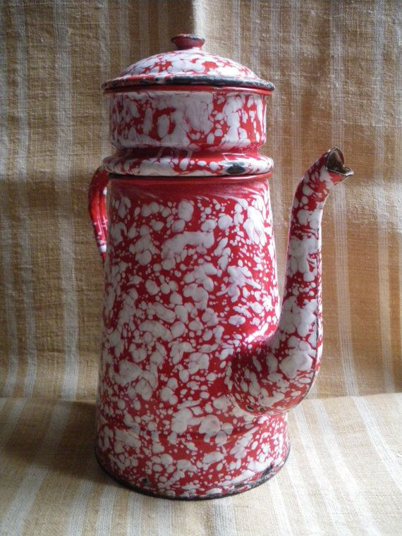 Vintage french enamel tin coffee potmarbled red by Lepapadesmatous, $90.00