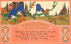 UNA CANCIÓN DE LA FELICIDAD EN SU CUMPLEAÑOS 3 azules-pájaros perca entre las flores