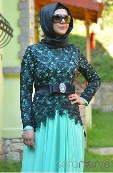 Sefamerve Abiye Elbiseler PDY 3260-05 Mint Yeşili