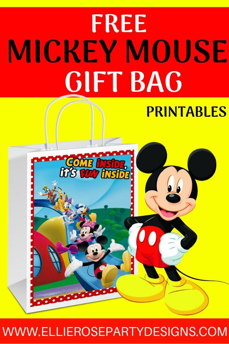 Free Diy Mickey Mouse Gift Bag Printables Great To Use As A Party