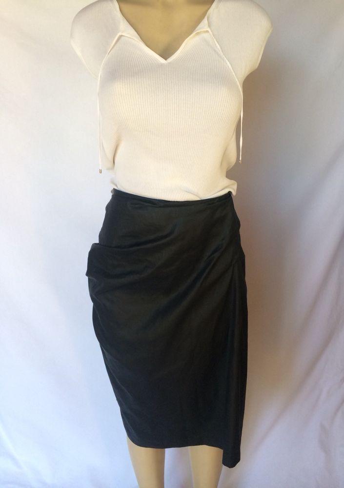 Dries Van Noten Black Pencil Skirt With Pleat Design On Back Sz 42  | eBay