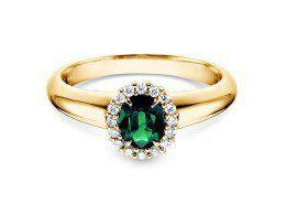Smaragdring Windsor in 14K Gelbgold mit Diamanten 0,12ct. Edel und königlich wirkt dieser wunderschöne Gelbgoldring mit einem Kreis aus 16 leuchtenden Diamanten und dem ovalen Smaragd. Der Smaragd gehört zu der Mineralfamilie Beryll und galt bereits bei ägyptischen Pharaonen als Symbol von Macht. Er steht mit seiner grün funkelnden Farbe für Lebensfreude, für Ruhe und Entspannung. Gönnen Sie sich mit dem Modell Windsor einen modernen Klassiker der Goldschmiedekunst. Green emerald engagement…